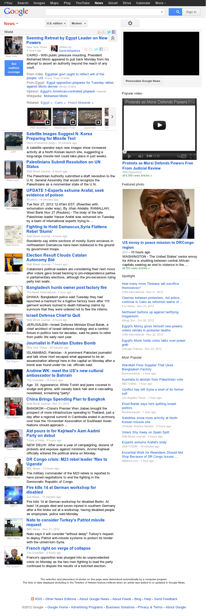 Google News: World at Tuesday Nov. 27, 2012, 6:13 a.m. UTC