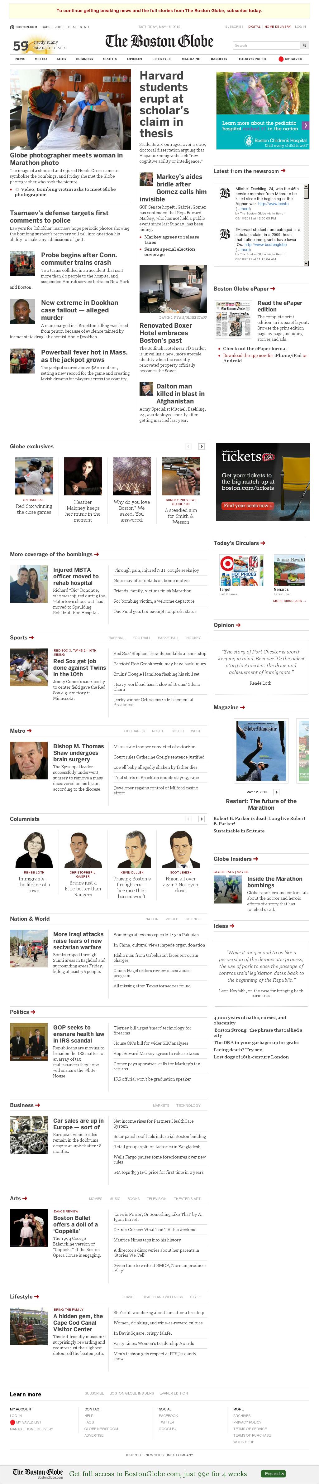 The Boston Globe at Saturday May 18, 2013, 1:02 p.m. UTC