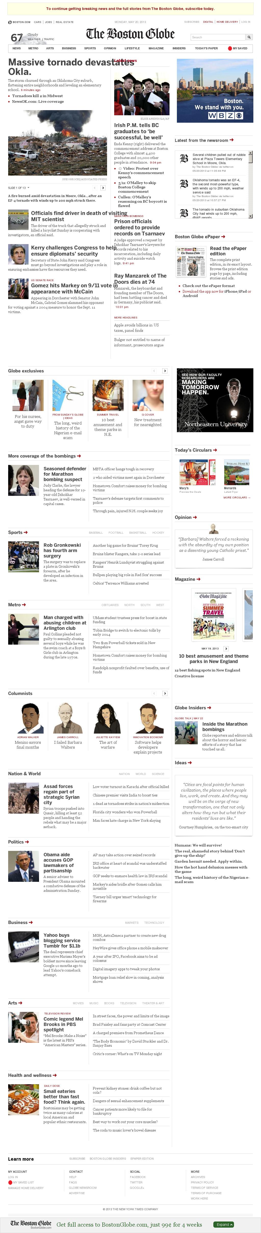 The Boston Globe at Tuesday May 21, 2013, 12:02 a.m. UTC