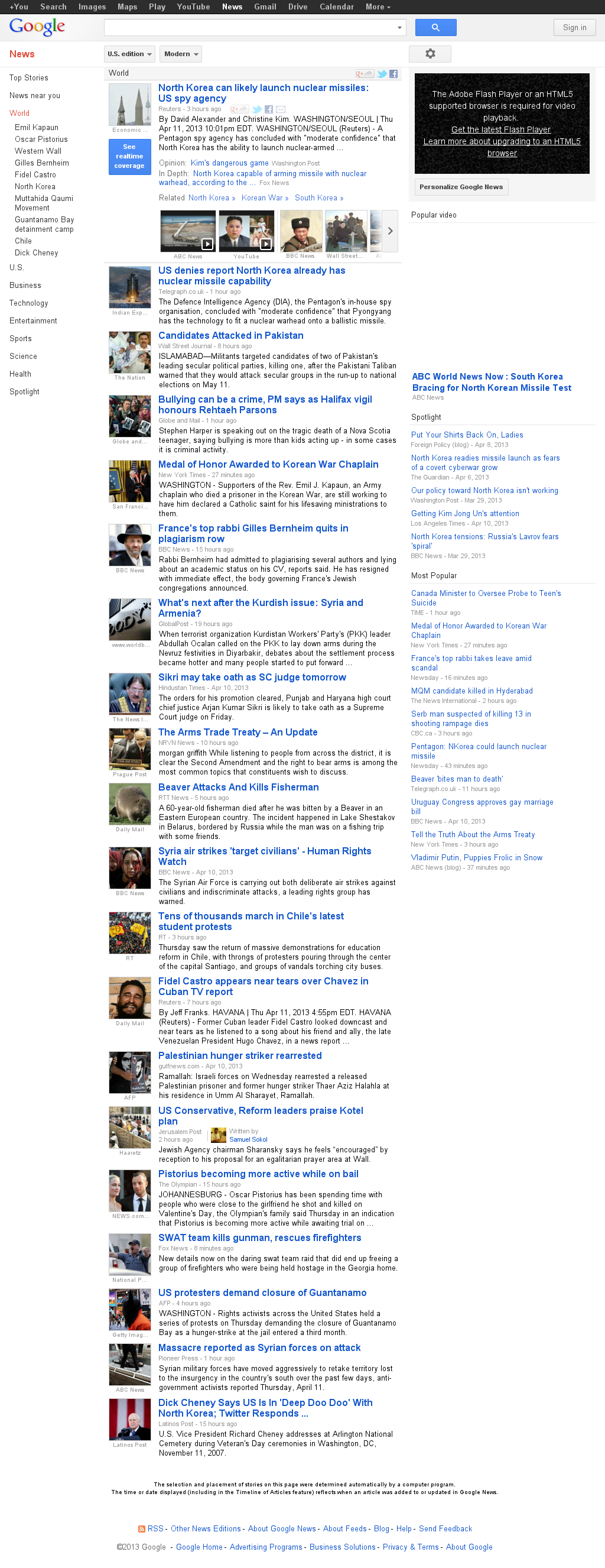 Google News: World at Friday April 12, 2013, 4:11 a.m. UTC