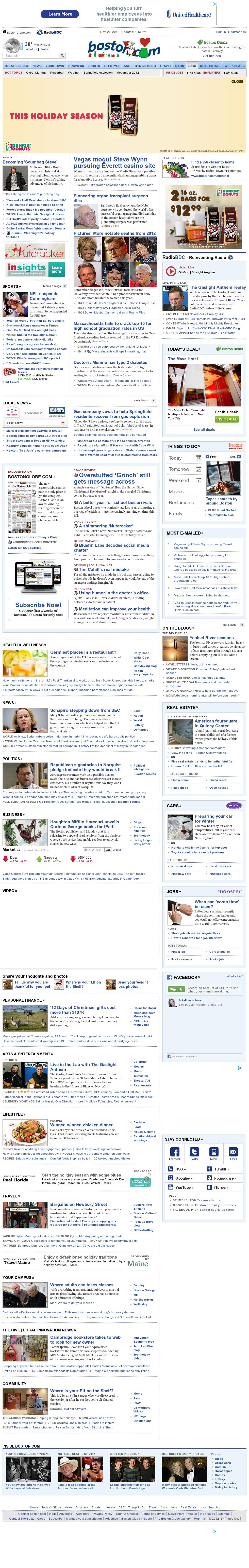 Boston.com at Tuesday Nov. 27, 2012, 2:03 a.m. UTC