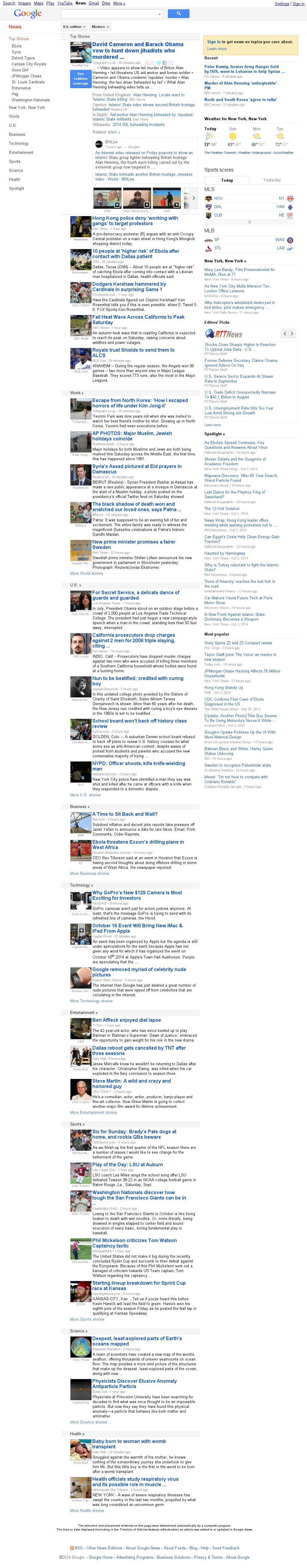 Google News at Saturday Oct. 4, 2014, 10:06 a.m. UTC