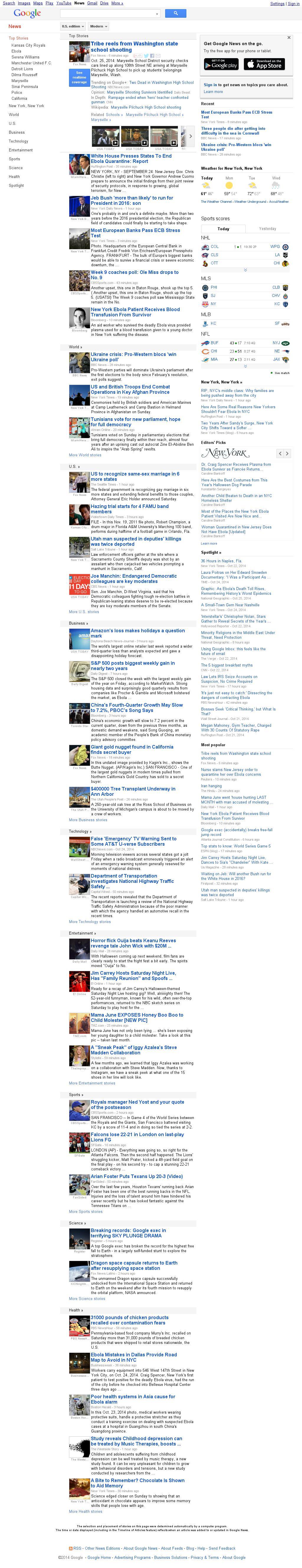 Google News at Sunday Oct. 26, 2014, 8:05 p.m. UTC