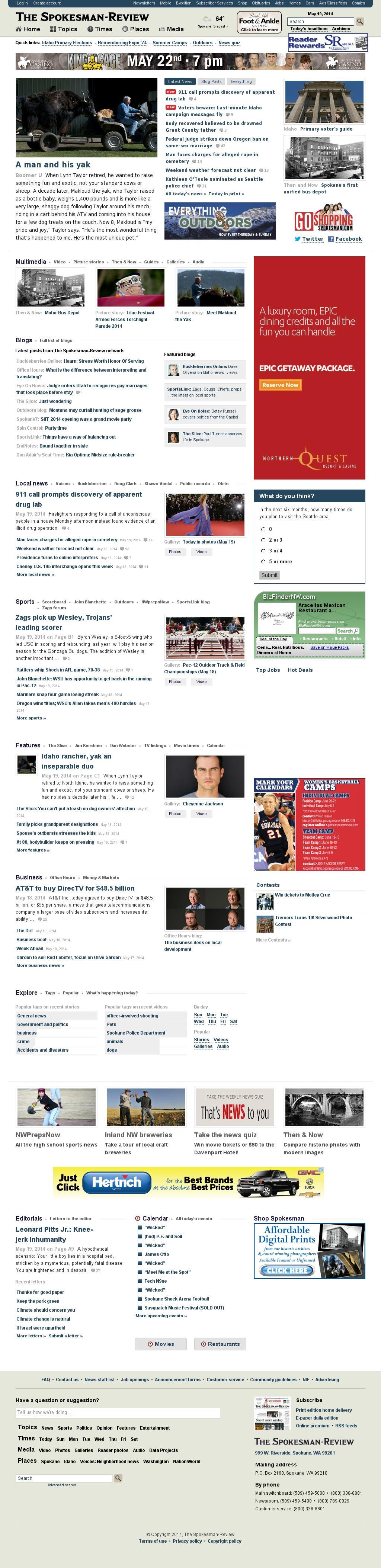 The (Spokane) Spokesman-Review at Tuesday May 20, 2014, 12:22 a.m. UTC