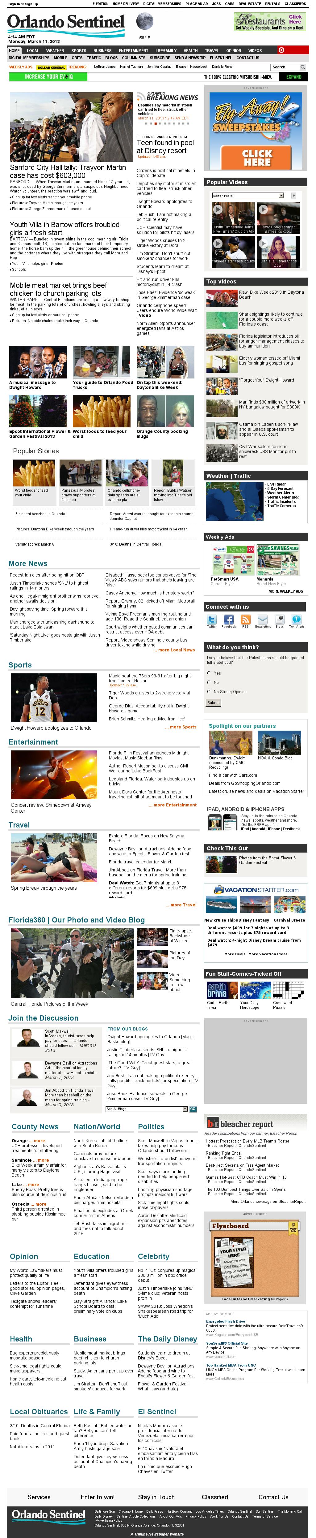 Orlando Sentinel at Monday March 11, 2013, 8:14 a.m. UTC