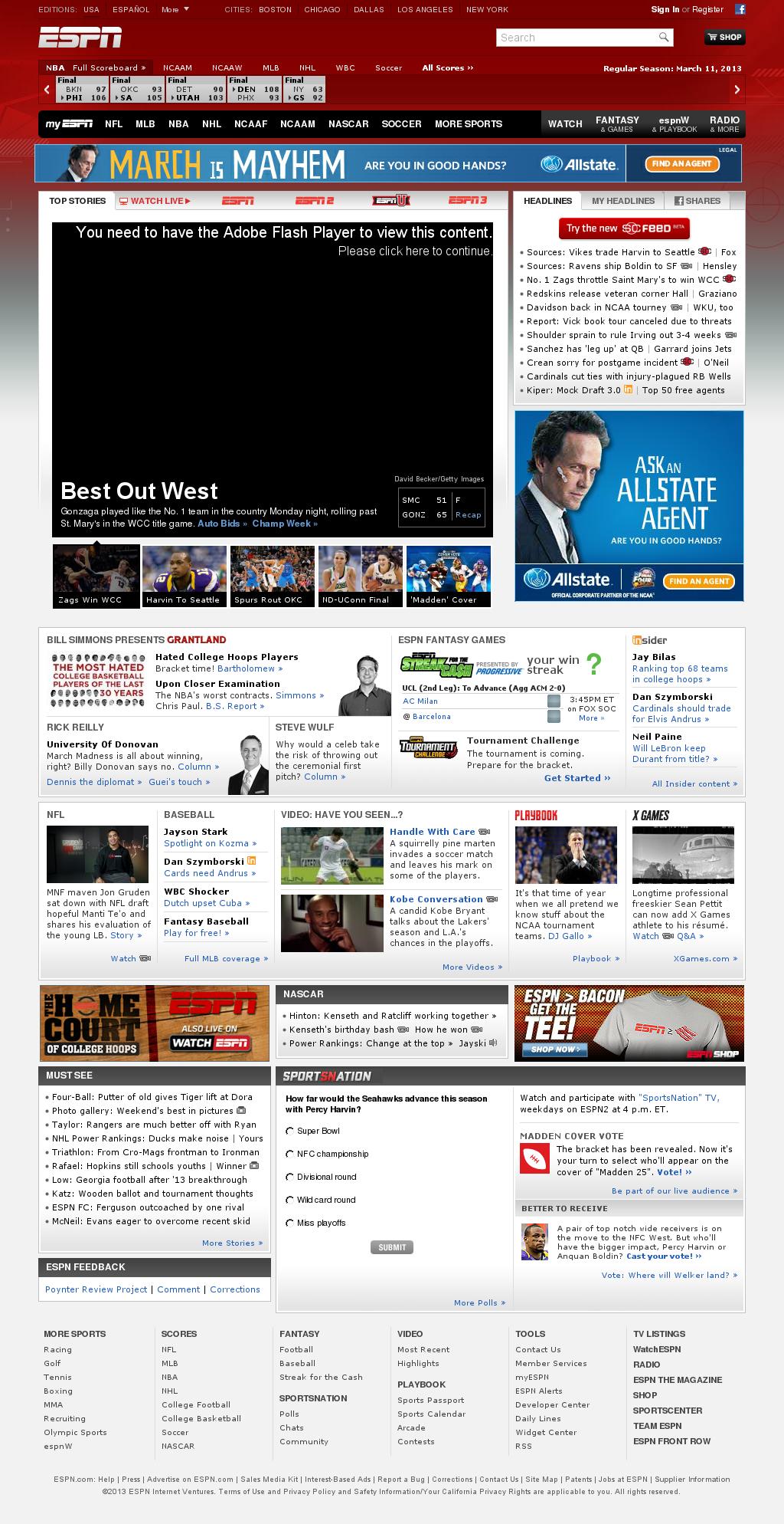 ESPN at Tuesday March 12, 2013, 6:05 a.m. UTC