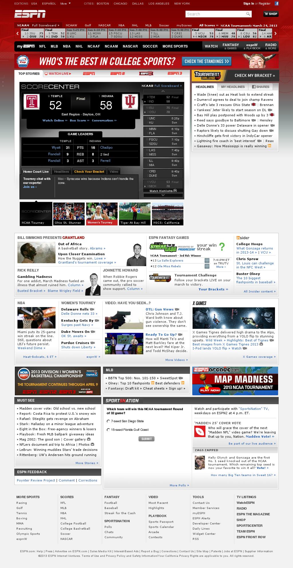 ESPN at Sunday March 24, 2013, 9:11 p.m. UTC